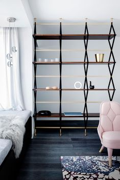 Cloudy Hexagon And Marble Tiles Create A Calming Tone In This En-Suite Bathroom Modern Bookshelf, Bookshelf Design, Bookshelves, Dark Wood Cabinets, Grey Countertops, Interior Decorating, Interior Design, Interior Ideas, Interior Styling