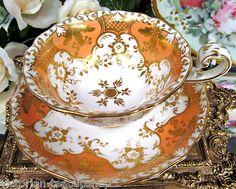 Antique Tea Cup and Saucer Davenport Teacup A F Gold Gilt Peach Color… Antique Tea Cups, Vintage Cups, Vintage Tea, Vintage China, Teapot Cookies, Teapots And Cups, Teacups, China Tea Cups, Tea Service