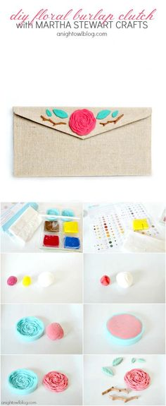 DIY Floral Burlap Clutch with Martha Stewart Crafts Crafter's Clay #marthastewartcrafts  #12MonthsofMartha
