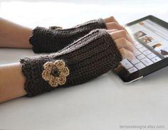 Fingerless Glove Wrist Warmer Gauntlet Brown Mocha by TempoDesigns, $23.00