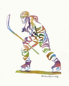 Ice Hockey Olympic Sport Athlete Painting Art Print Watercolor Reproduction of Original Barbara Rosenzweig, Home Decor Birthday Boy Man Gift on Etsy, $37.00