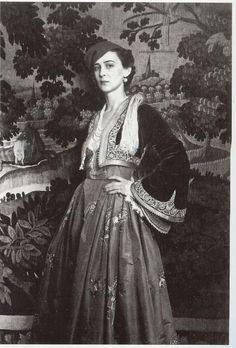 Princess Marina of Greece, Duchess of Kent in a Greek traditional costume. Greek Traditional Dress, Traditional Outfits, 3 People Costumes, Greek Costumes, Reine Victoria, Greek Royal Family, Princess Alexandra, Folk Costume, Fashion History