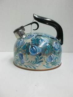 Stainless SteelVintage Tea Kettle Hand Painted by FolkArtByNancy