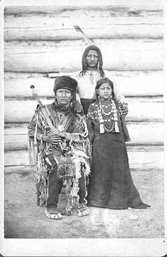 Two Crow and with his son and daughter - Arikara - circa 1880