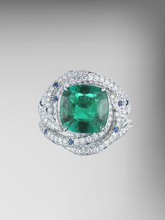 SSEF Certified No Oil Emerald and Blue Sapphire Ring
