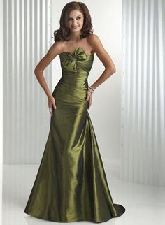 Army Green Wedding gown (make it more casual and for the bridesmaids, and you're good to go!)