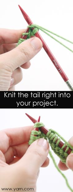 Knitting Tip - Knit in your tail so you don't have to weave it in..