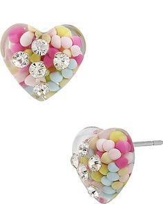 Betsey Johnson HEART STUD EARRING MULTI -omgeezy...love
