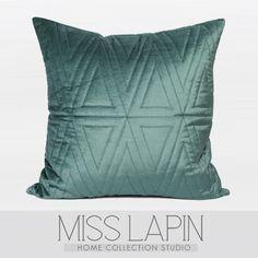 MISS LAPIN澜品家居/ 法式浪漫/样板房/床头沙发/高档靠包/湖蓝色几何绗棉方枕pillow /cushion /cushion cover-淘宝网