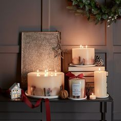 〚 Wonderful christmas collection by The White Company 〛 ◾ Photos ◾Ideas◾ Design The White Company, White Company Candles, Christmas Candles, Christmas Home, Christmas Decorations, White Christmas, Large Candles, White Candles, Scented Pillar Candles
