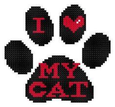 I Love My Cat Paw Print Black Zig-Zag Cheveron Counted Cross Stitch Pattern PDF. $3.00, via Etsy.