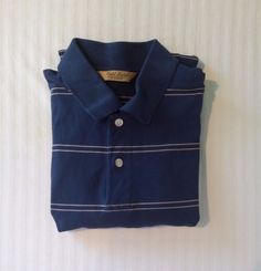 Roundtree & Yorke Gold Label Medium Blue Tan Pinstripe Men's Polo Rugby Shirt #RoundtreeYorke #PoloRugby