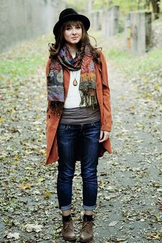 This whole picture!  But I love the burnt orange(?) jacket and the cool scarf.