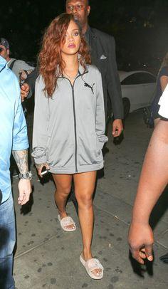 Rihanna street style fashion outfit candid 2016 badgalriri puma fenty fur slides