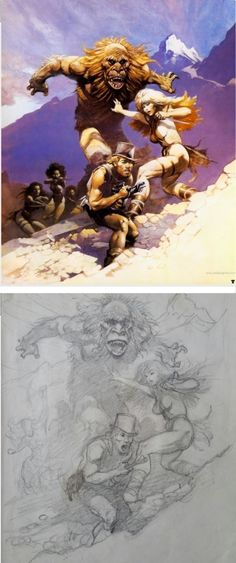 FRANK FRAZETTA - sketch & Final for 3000 AD - prints by comicartfans.com