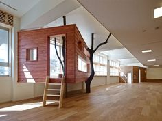 Built by 16A Inc. in Tokyo, Japan with date 2013. Images by Masaya Yoshimura. The renovation plan of changing to a nursery school from the public junior high school which was closed for streamlin...