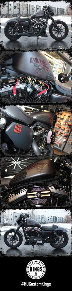 The sleek sweeping lines of the quarter fairing and red striping outlining the Eagle and Iron shield tank graphics are just a few of Conrad's Harley-Davidson build's thoughtful details. | Harley-Davidson #HDCustomKings