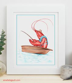 Very patient fishing lobster drawing by Amelie Legault, available in prints in here Etsy store. start at $8,00  #amelielegault #lobster #fishing #homard #peche #affiche #etsy #dessin #drawing #lobsterdrawing