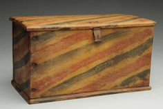 Primitive Folk Art Painted Box or Childs Trunk. Primitive Bedroom, Primitive Homes, Primitive Antiques, Primitive Folk Art, Primitive Country, Southern Furniture, Country Furniture, Country Decor, Painted Chest