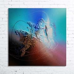"""""""AURIGAE"""" Tableau abstrait design moderne contemporain à l'acrylique peinture en relief sur toile, châssis professionnel à clef.  70 cm x 70 cm. 100% coton (épaisseur 2 cm) P - 15967749"""