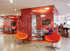 Pandora's small meeting spaces, designed by abastudio, feature fabric-covered fiberglass acoustic panels to keep sound from reverberating.