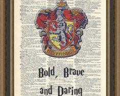 Harry Potter Hogwarts Gryffindor crest, typography Bold, Brave and Daring printed on a vintage dictionary page.