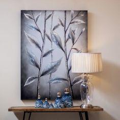 http://www.nuryba.com/ Cuadro Moderno Decorativo Plata Hojas II, lienzo pintura al óleo