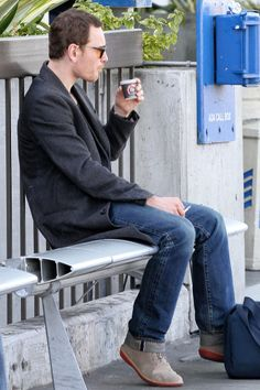 Michael Fassbender....and the tiniest coffee ever.