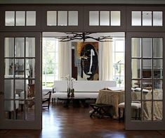 Glass French Doors Like windows, doors are a key part of any wall's composition. Here, beautiful French doors separate the living room from a large foyer, Double Doors Interior, Door Design Interior, Interior Windows, Interior Glass Doors, Interior Concept, Interior Ideas, Design Salon, Glass French Doors, Brainstorm