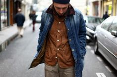 layers, denim jacket