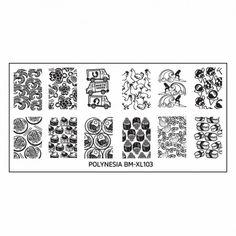 Polynesian Themed Nail Art XL Stamping Plate: BM-XL103, North Shore Grindz
