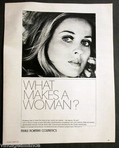 """Vintage 1968 """"What Makes A Woman"""" Lovely Girl in Merle Norman Cosmetics Print Ad 