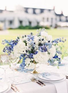 2020 Wedding Color Trends: Classic Blue Wedding wedding colors 2020 Wedding Color Trends: Classic Blue Wedding Ideas for Every Bride White Wedding Flower Arrangements, White Wedding Flowers, Floral Wedding, Wedding Bride, Wedding Reception, Summer Flower Arrangements, White And Blue Flowers, Wedding Arches, Wedding Tables