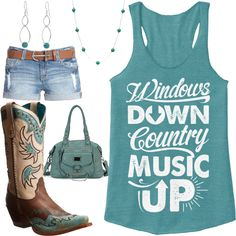 Windows Down, Country Music Up Outfit - Real Country Ladies The Effective Pictures We Offer You About Country Outfit with jeans A quality picture can tell you many things. You can find the most beauti Country Girl Outfits, Cute Country Girl, Country Wear, Country Fashion, Girls Summer Outfits, Cowgirl Outfits, Cowgirl Style, Western Outfits, Western Wear
