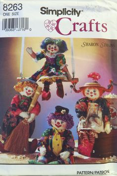 Simplicity 8263 Decorative Girl and Boy Clown Dolls