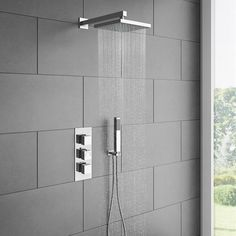 Milan Triple Thermostatic Valve with Square Shower Head and Handset at Victorian Plumbing UK