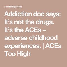 Addiction doc says: It's not the drugs. It's the ACEs – adverse childhood experiences. | ACEs Too High