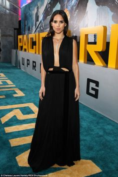 Black is the new black: Adria Arjona looked just like a supermodel at the Pacific Rim Uprising Premiere in Los Angeles on Wednesday night