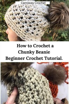 Learn how to crochet a beginner chunky beanie. This is a super easy beanie to make using double crochet stitches and back loop only single crochet. Chunky Crochet Hat, Double Crochet, Single Crochet, Knitted Hats, Crochet Hats, Crochet Slouchy Beanie, Crochet Baby Hat Patterns, Crochet Beanie Pattern, Crochet Stitches