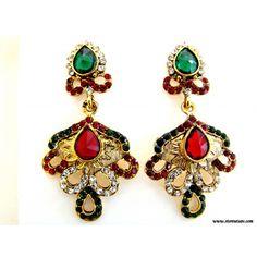 Kundan Earrings Maroon & Green-Rajasthani Jewellery - Online Shopping for Earrings by Store Utsav