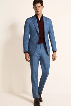 Tailored Fit Green Linen Suit Light Blue Check Suit, Green Jacket, Suit Jacket, Blue Linen Suit, Checked Suit, Non Iron Shirts, Oxford White, Linen Jackets, Fitted Suit