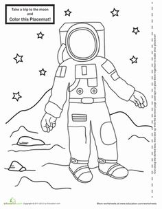 Astronaut coloring printable-Neil Armstrong & moon landing