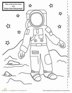 Astronaut coloring printable-Neil Armstrong & moon landing
