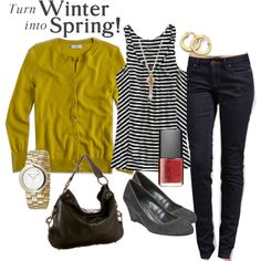 Love the wedges and striped tee! Haven't really got anythings nice in mustard/yellow but this would be a welcome addition.