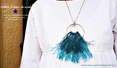 Collar con aros de zamak e hilos de algodón. Tienda de abalorios, vendemos material, damos ideas. www.unlugarenelmundobypaula.com