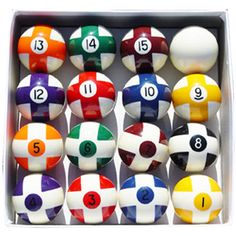 Pool balls with crosses across the numbers