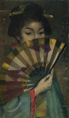 parappurathu: George Henry A Geisha Girl Signed, inscribed 'Tokyo' dated Geisha Kunst, Geisha Art, George Henry, Art And Illustration, Painting Of Girl, Painting Art, Painting Flowers, Paintings, Glasgow School Of Art