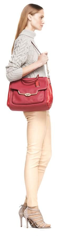 The look: the Coach Madison Sadie Flap Satchel in Spectator Saffiano Leather and Lavania Heels