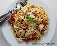 *Healthy & Light Spaghetti with Sauteed Chicken and Grape Tomatoes