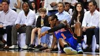 Amare Stoudemire is expected to miss Game 3 due to punching the glass case of a fire extinguisher after Game 2 Loss - New York Knicks